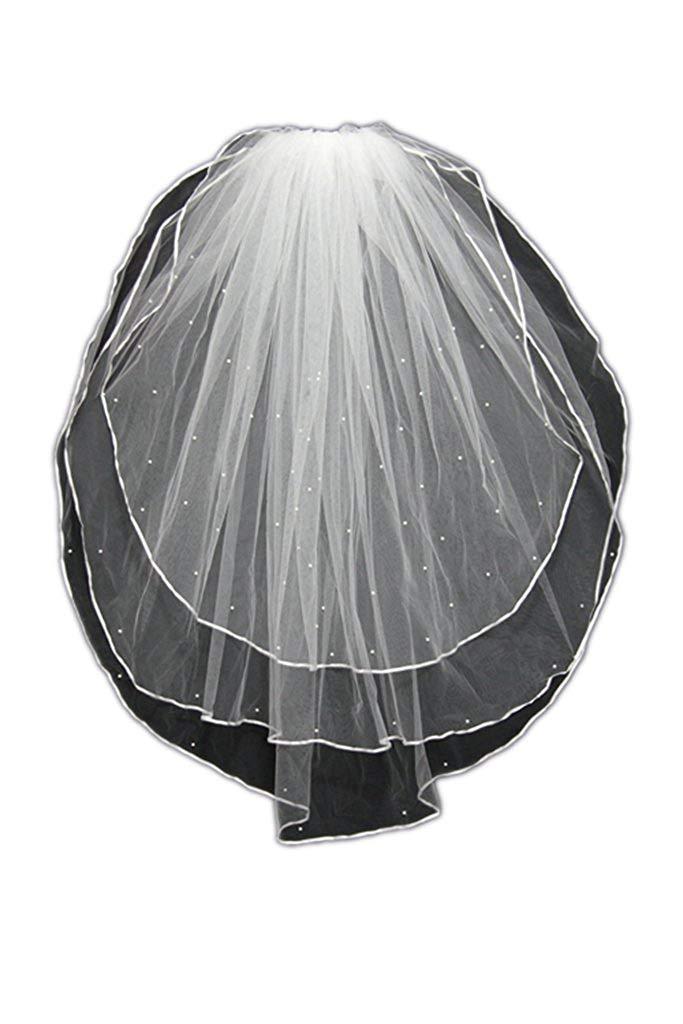MLT 3 Layers White Ivory Bridal Veils Elbow Length Satin Edge with Bead