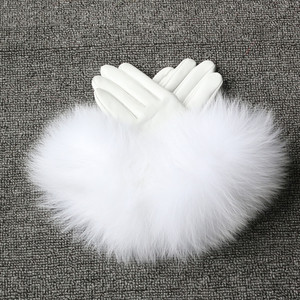Winter Women Warm Gloves Genuine Leather Fox Fur Gloves New Year Gift