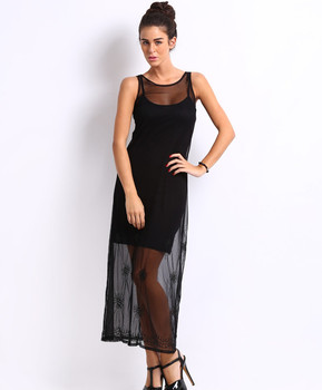 53a9222a2069 Black Long Mesh Transparent Sexy Night Dresses For Girls - Buy ...