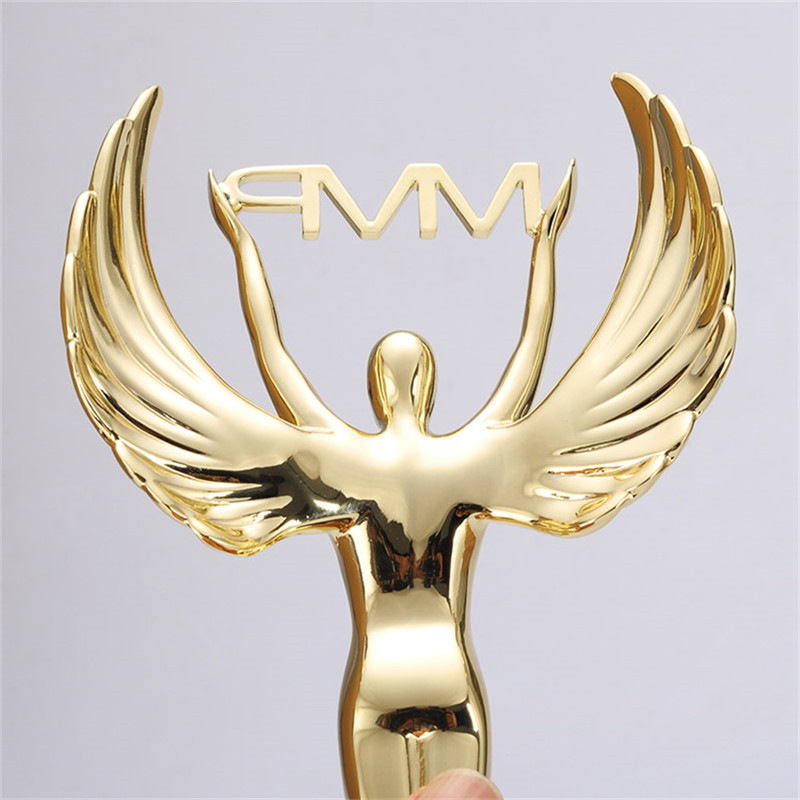 Customized Logo Printing Metal Angle Sports Trophies High Quality Promotional Gift Metal Gold Plated Angle Trophy Awards or Cups