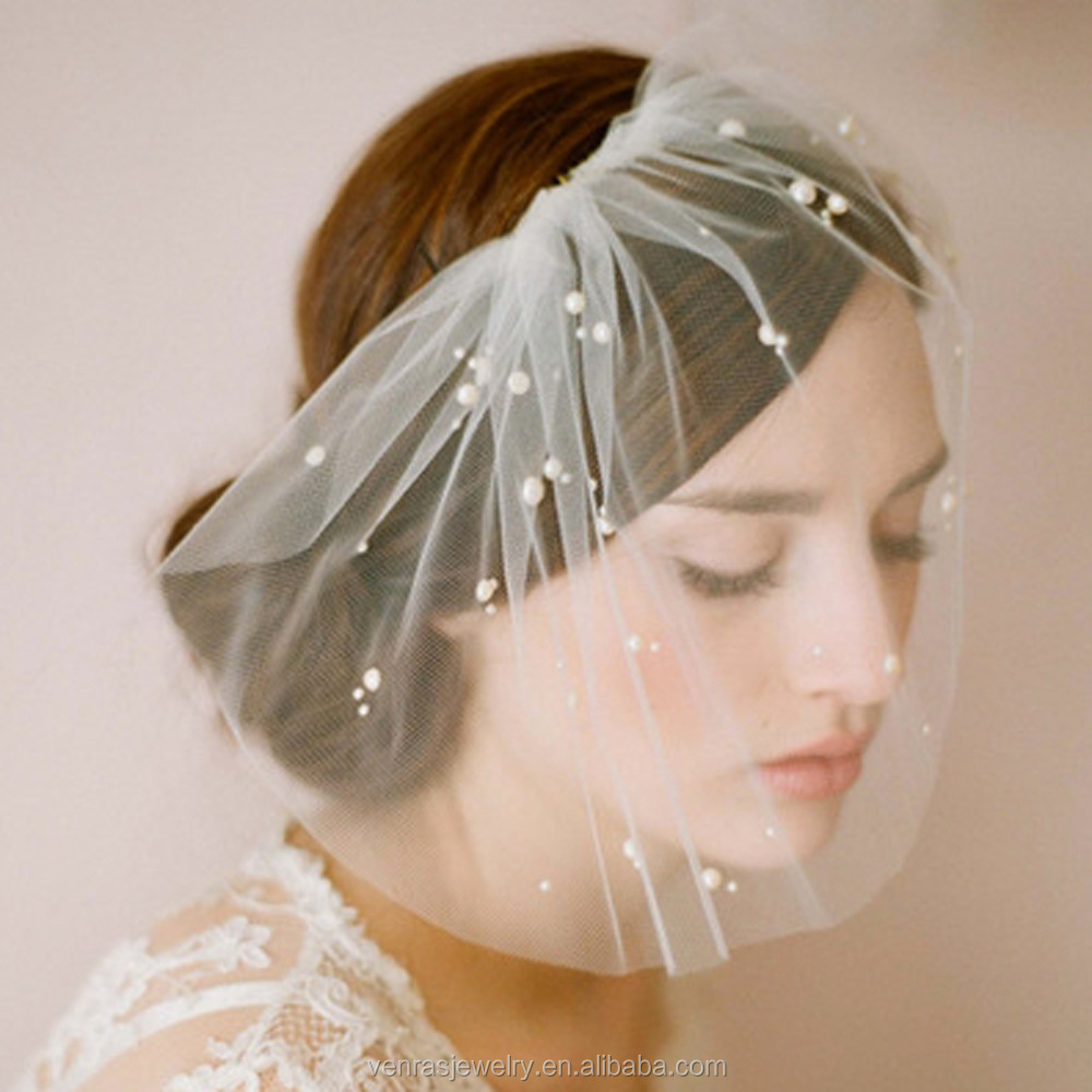 Wedding Bridal Accesories White Lace Hand Sewed Pearl Beads Bridal Women Veil