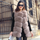 Fur autumn and winter new imported leather imitation fox vest women 's jacket special clearance