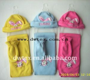 Cute baby beanie hat scarf mitten/gloves polar fleece set