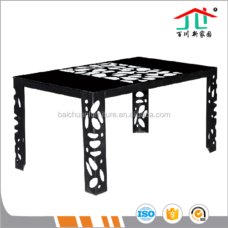 Rectangle Tempered Glass Top Paint as Picture Black Iron Legs Dinnning Table Set
