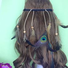 Factory Wholesale Boho Feather Headpiece Headband Braided Hairband Gypsy Indian Feather Headdress