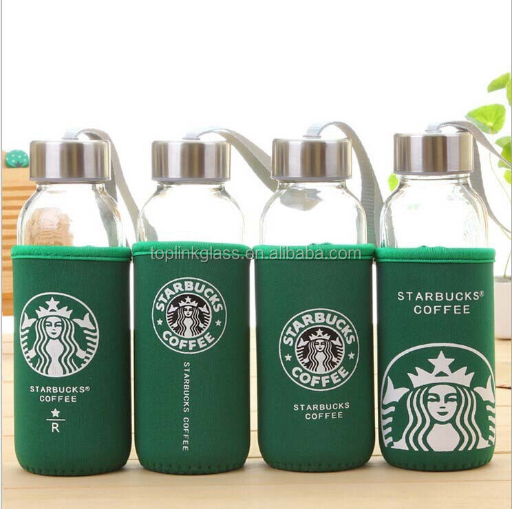 starbucks oem hot sale high quality close cover mini glass water bottle with cute cloth cover