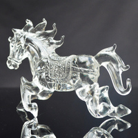 Clear Crystal Horses Glass Animal Figurines for Business Gifts