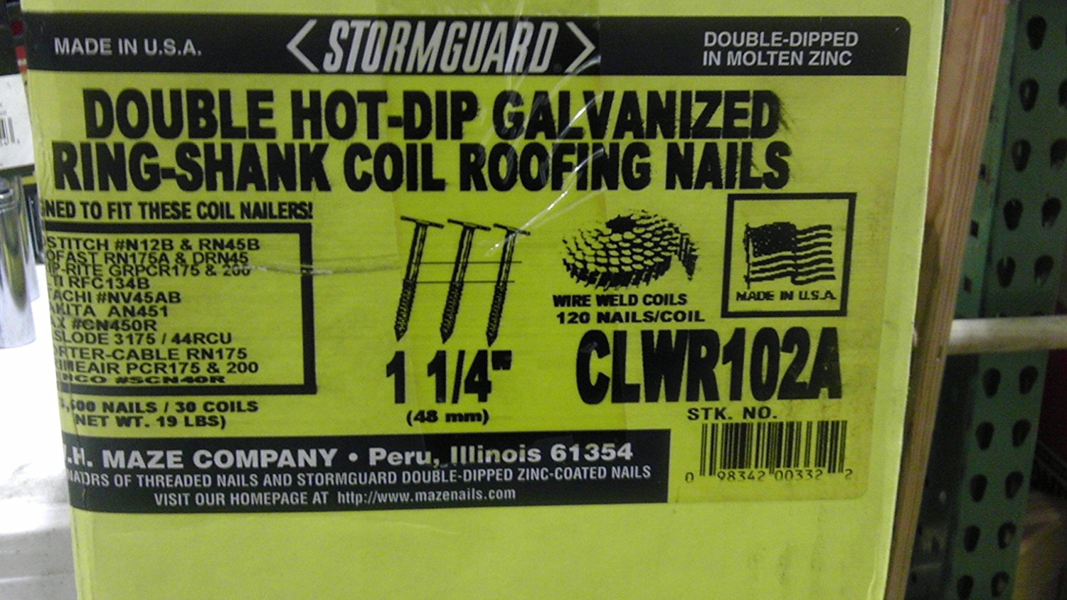 "CLWR102A STORMGUARD DOUBLE HOT-DIP GALVANIZED RING-SHANK COIL ROOFING NAILS 1-1/4"" 3,600 NAILS / 30 COILS WIRE WELD COILS 120 NAILS/COIL"