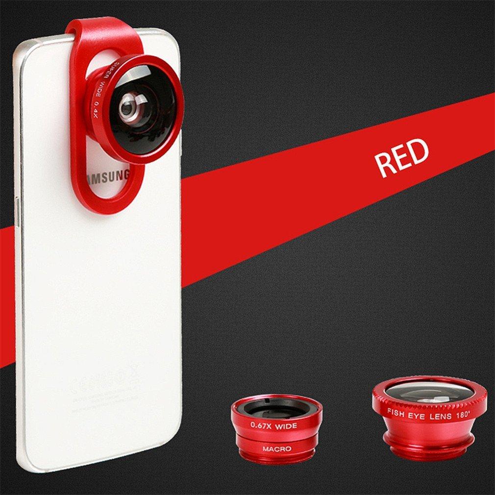 Phifo iPhone Lens Camera Lens Kit Fisheye Lens + Wide Lens + Macro Lens + CPL Lens Universal 4 in 1 Smartphone Lens for iPhone 6 6 Plus iPhone 5 5C 5S 4 4S Samsung Galaxy S5 S4 S3 iPad 2 3 4 Air (Red)