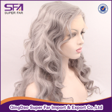 Silver grey hair wig, transparent lace color lace front wig fiber
