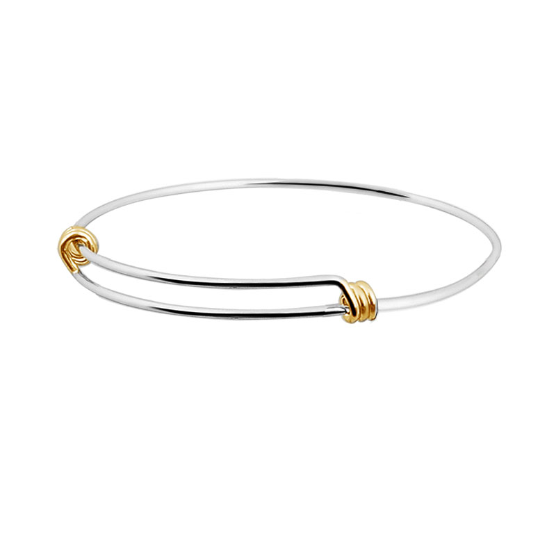 Expandable Bangle Never Fade Real Two Color Plated Women Wrist Bracelet Cuff Bangle Diameter in 60mm & 65mm