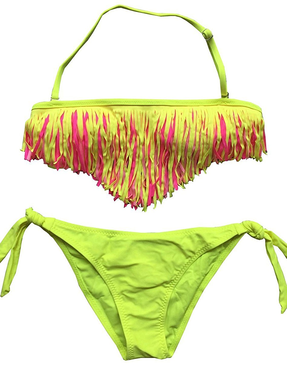 512f682c65b7c Get Quotations · R6HxiaoFa MAKZ Reflective Fluorescent 3-Layer Tassel Bikini  Bathing Suit for Girls 6-16