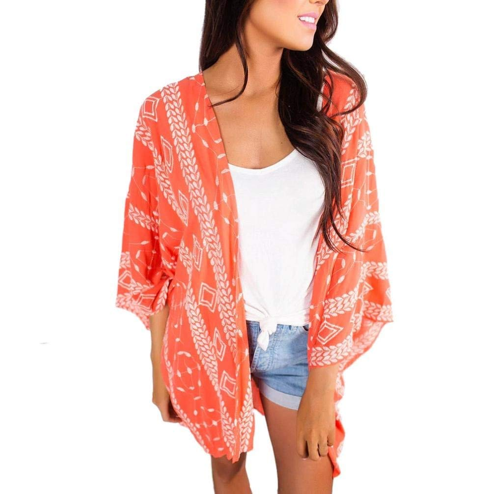 d4695c27f2fff Get Quotations · New Arrival!Women Fashion Flower Loose Kimono Cardigan  Jacket Blouse Tops