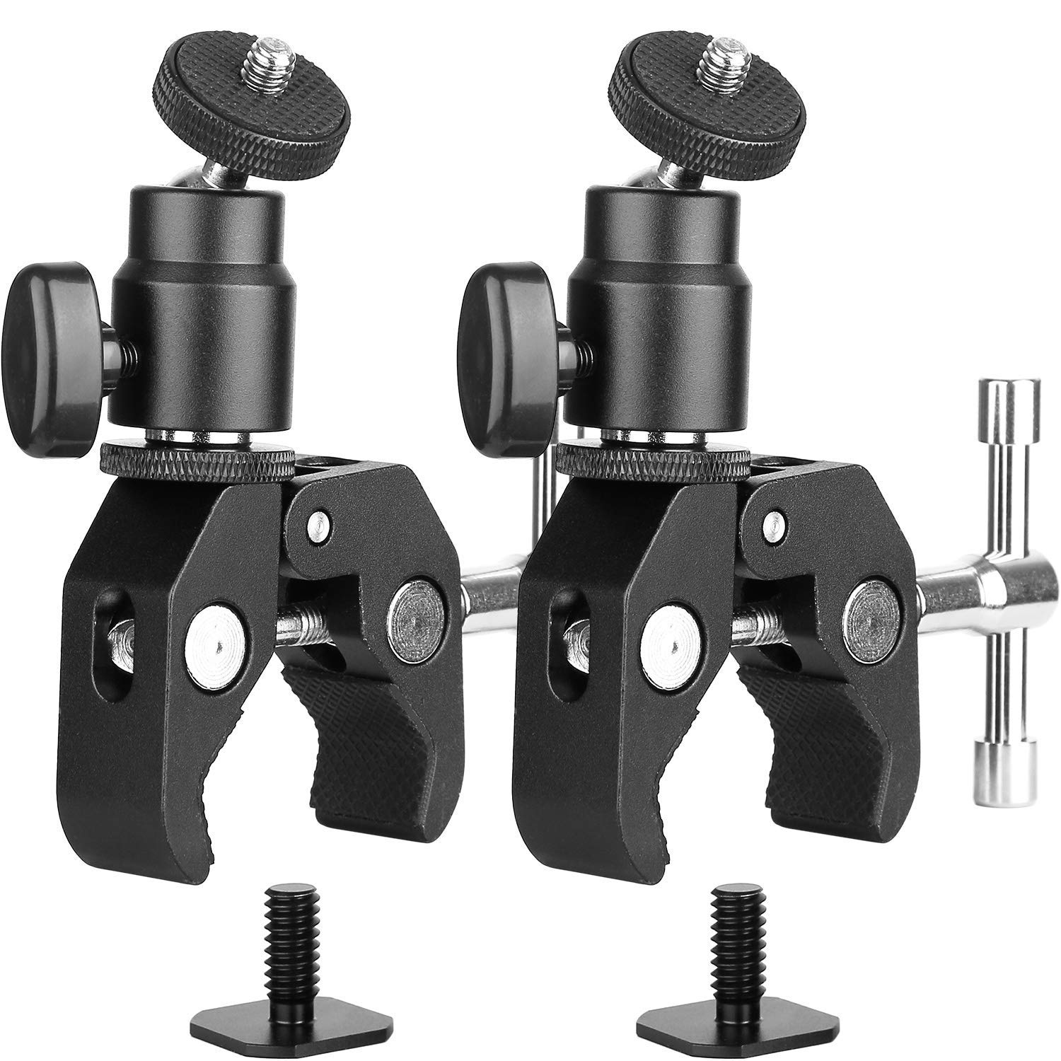 "2Pack ChromLives Camera Clamp Mount Ball Head Monitor Clamp - Super Clamp and Mini Ball Head Hot Shoe Mount with 1/4""-20 Tripod Screw for LCD/DV Monitor, LED Lights, Flash Light,Microphone and More"