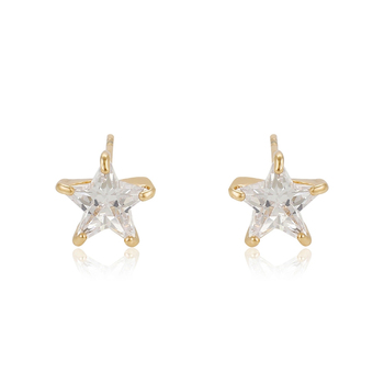 94858 Latest new design gold plated jewelry single stone star shape design women stud earrings