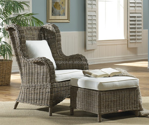 Wing back designed sunroom or outdoor use sofa furniture rattan chaise lounge chair