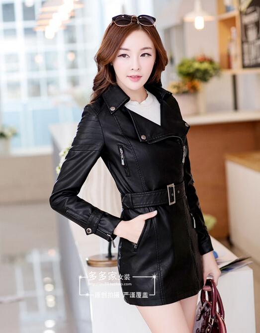 Кожаная куртка женщин 2015 весна женщин кожаные одежды верхняя одежда куртки и пальто дамы черный кожаное пальто мотоцикла кожа