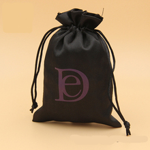 Custom Printed Small Silk Drawstring Bags Gold Satin Pouch