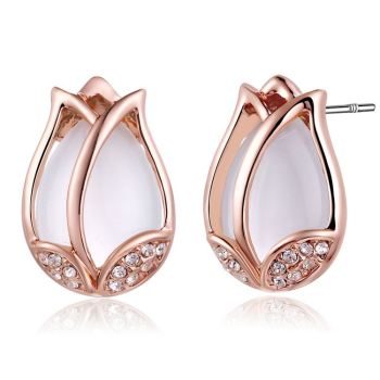 Las Rose Gold Costume Jewellery Cut Diamond Stud Earrings
