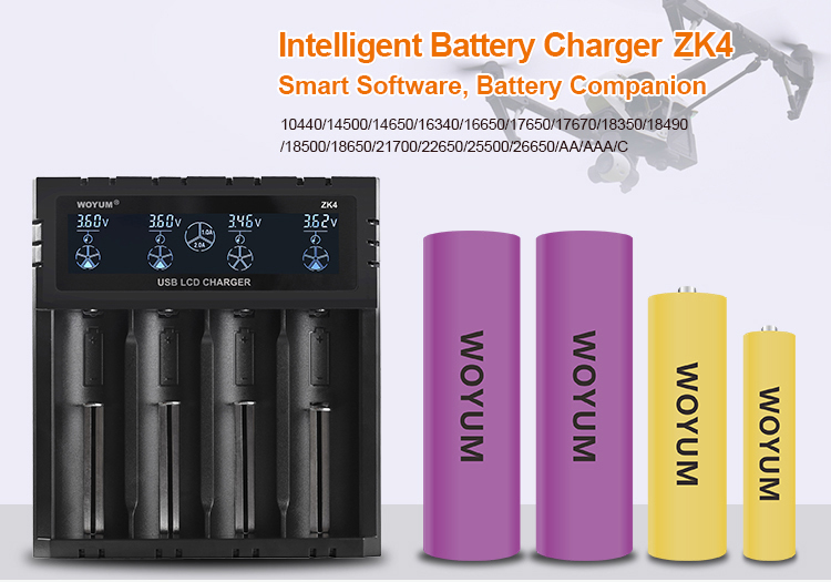 Battery Baterai Charger Bahan Logam Kuningan 4 Slot Zk4 Li-ion Isi Ulang Ni-mh 21700 Battery Charger Charger Mobil