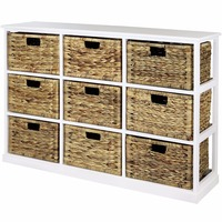 3x3 Storage Unit - 9 Drawer with Seagrass Baskets