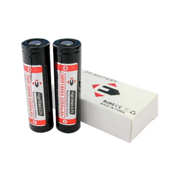 flat top EFAN imr2250mah 18650 black li ion battery