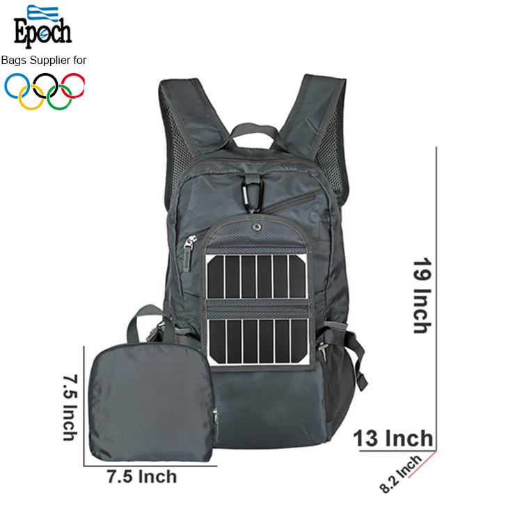 durable grey waterproof polyester ripstop foldable removable solar charge backpack