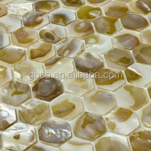 hexagon mother of pearl oyster shell mosaic tile
