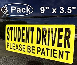 """(3 Pack) 9"""" x 3.5"""" STUDENT DRIVER PLEASE BE PATIENT Vehicle Car Window bumper Safety Warning Alert Sticker Decals - Back Self Adhesive Vinyl"""