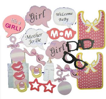 20pcs Baby Shower Girl Decoration Photo Booth Props Gender Reveal
