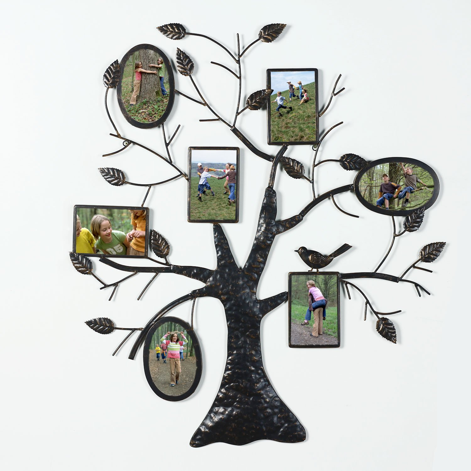 """Asense Brown Black Decorative Collage Bronze Iron Metal Wall Hanging Family Tree Picture Photo Frame, 7 Opening, 4x6"""" 4x4"""" (7 Openings,3 Oval 4-4*6,3-4*4)"""