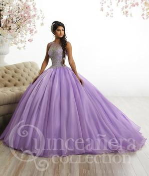 9b058cf4785 Beaded Rhinestone 2018 New Arrival Lilac Tulle Ball Gowns Quinceanera  Dresses Elegant Fashion Girl s Sweet 16