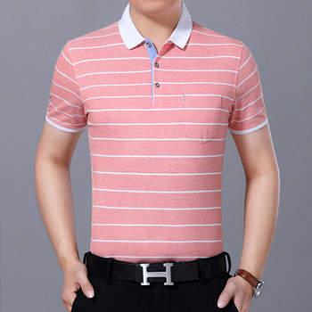 Hot sale casual style summer  high quality stripe man pocket polo shirt