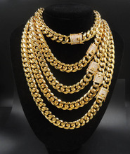 14mm Miami Cuban Link Chain CZ Clasp 18k Gold Plated Stainless Steel Necklace