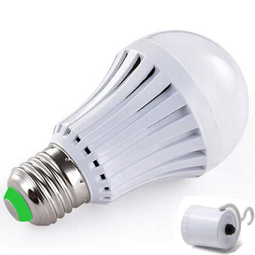 Vyaime Emergency LED Light Bulb for Rainstorm Power Outage, Lampholder Hook Camping Flashlight, 75W-Equivalent Daylight E27 E26 120V 220V 9W - 4 Pack