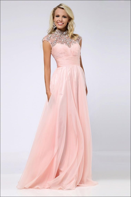 2015 high neck prom dresses a line chiffon peach crystal