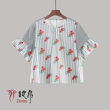 Printed cotton poplin blouse for women
