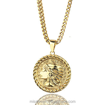 Mode Hip Hop Neue Design 18 Karat Gold Indian Chief Münze Anhänger