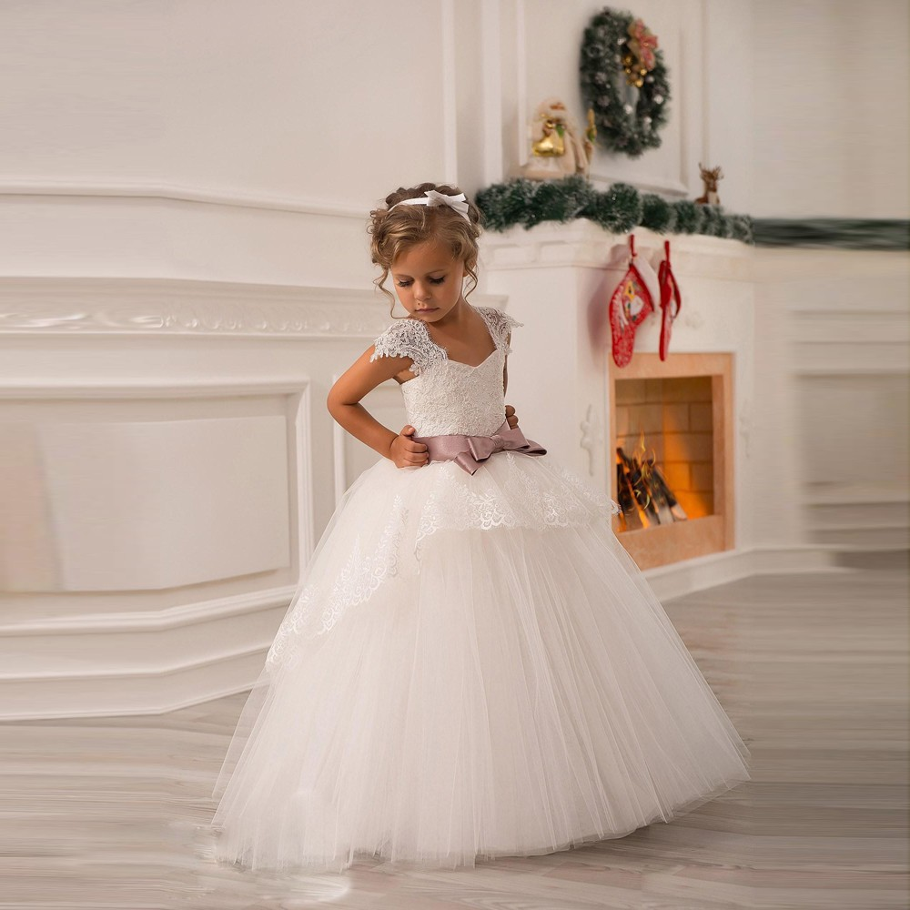 Wedding Flower Girl: Flower Girl Dresses For Weddings With Ribbon Ball Gown