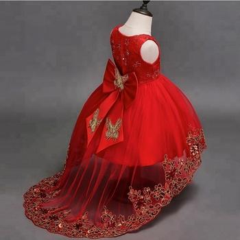 b5f4d7ba5 Hao Baby Big Children's Girls Host Red Bow Dress Children's Wedding Flower  Girl Princess Dress Sleeveless
