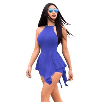 Sexy Tights Blue Womens Playsuit Jumpsuits Halter Ladies Short Jumpsuit 44f3cad2d8
