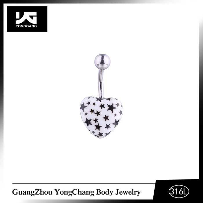 Acrylic Heart Pattern Mistletoe Belly Button Ring Piercing Jewelry