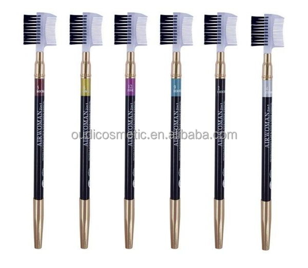 2017 hot sale Mineral double side best eyeliner wooden pencil permanent eyebrow pencil with brush and comb for makeup eye