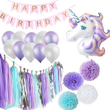 kids party decorations happy birthday unicorn balloons tissue paper garland unicorn party supplies