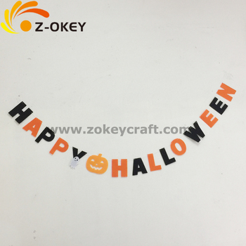 Lage prcie decoratie Halloween Douane Happy Halloween Banner garland Zwart en Oranje Brief Banner Halloween decoratie