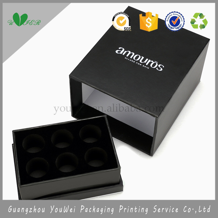logo silver stamping black color custom paper box drawer, guangzhou cosmetic paper gift box packaging for facial mask