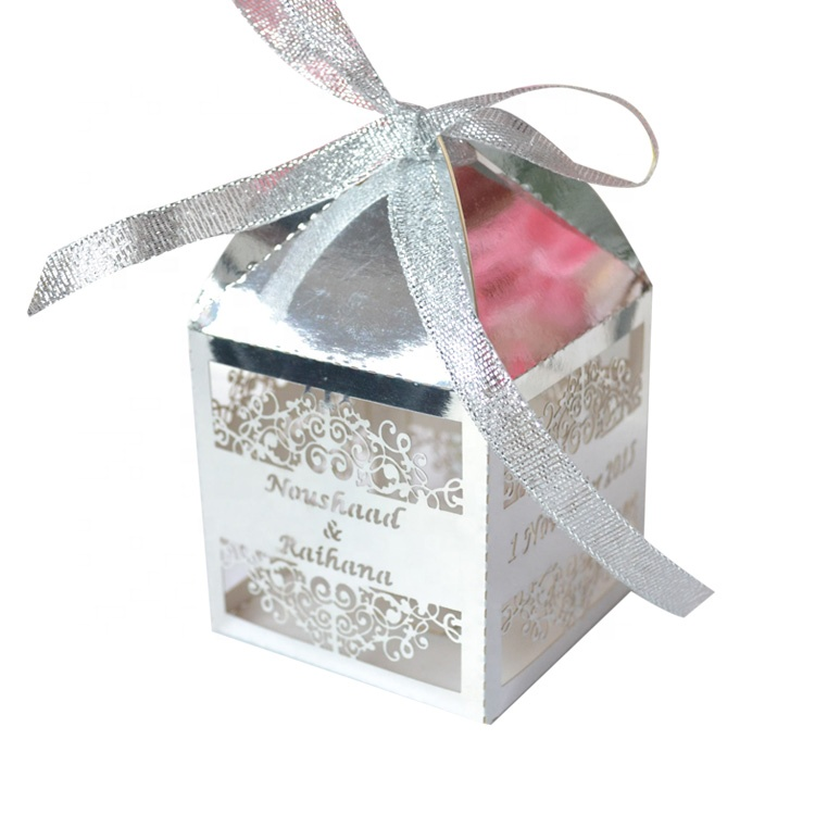 Laser cut <strong>wedding</strong> favors gift box metallic silver paper <strong>wedding</strong> favour boxes