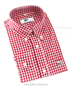 mens clothing gingham pattern cotton fabric men shirts