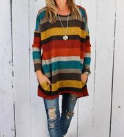 Wholesale Monogrammed multi stripe front pocket tunic