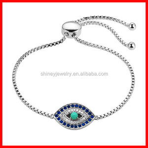 pure 925 sterling silver box chain adjust size evil eye pokemon go plus bracelet